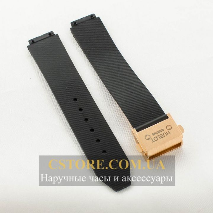 Ремешок Hublot Big Bang black woman с застежкой gold (06288)