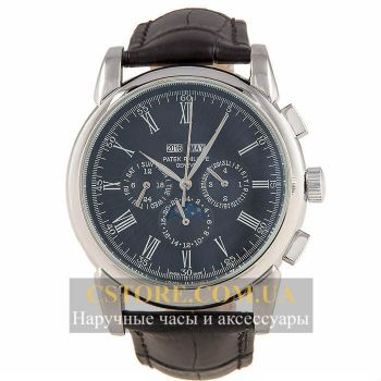 Часы Patek Philippe Grand Complications Perpetual Calendar Black Silver (06355)