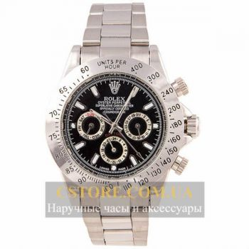 Механические Часы Rolex Daytona Cosmograph 40 mm Steel Silver Black (06364)