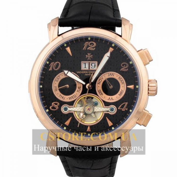 Мужские часы Vacheron Constantin geneve tourbillon gold black
