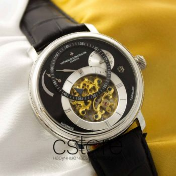 Часы Vacheron Constantin Automatic Tourbillon silver black (05074)