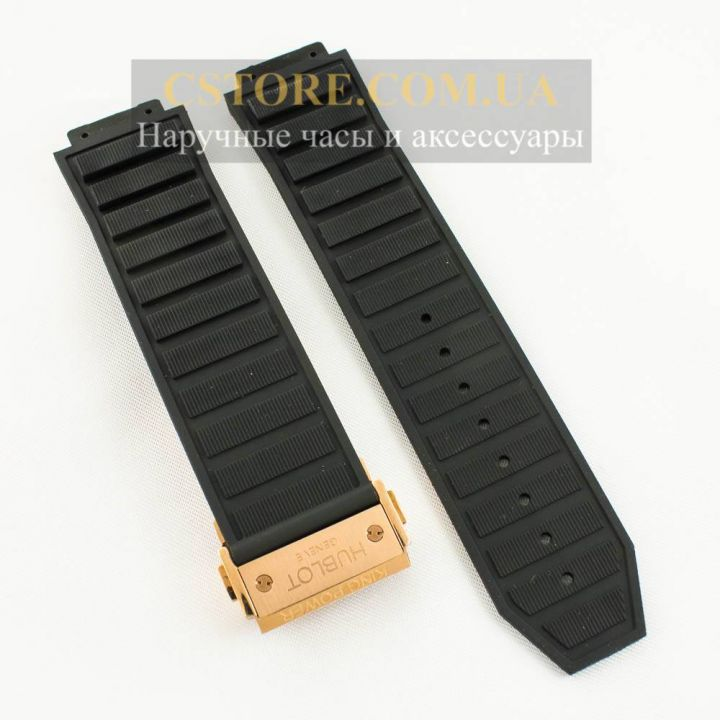 Ремешок Hublot Big Bang King Power black с застежкой gold 24mm (06133)